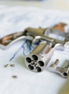 disassembled revolver